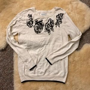 Elle Floral Design Long Sleeve Ribbed Sweater